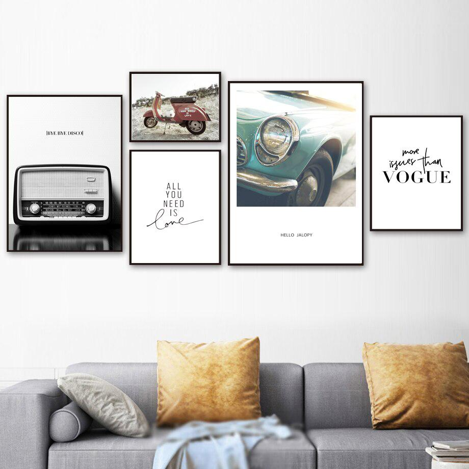 Canvas Painting Wall Art Nordic Printed Space Vogue Radio Car Vintage Posters Home Decoration Living Room Modern Modular Picture