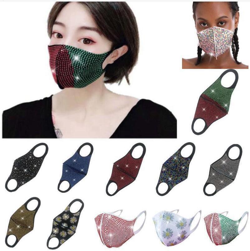 Yüz Maskesi Parti Gece Kulübü Ağız Maskeleri Fashionista Bling Yeniden kullanılabilir Maskeler Koruyucu Anti Toz Açık Cyling Flaş Rhinestones Maskeleri LSK223