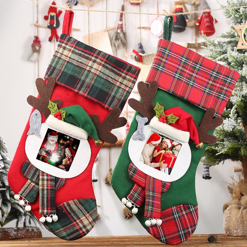 2pcs Noël Bas Père Noël Noël Sacs cadeaux de Noël Sucrerie Sacs Porte-cadeaux Hanging Décoration
