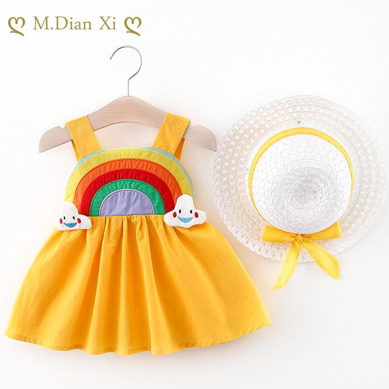 2020 Robe de fille d'été mignonne d'été pour les nouveau-nés bébé fille vêtements princesse robes 1ère robe d'anniversaire avec chapeau 0-2y vestidos