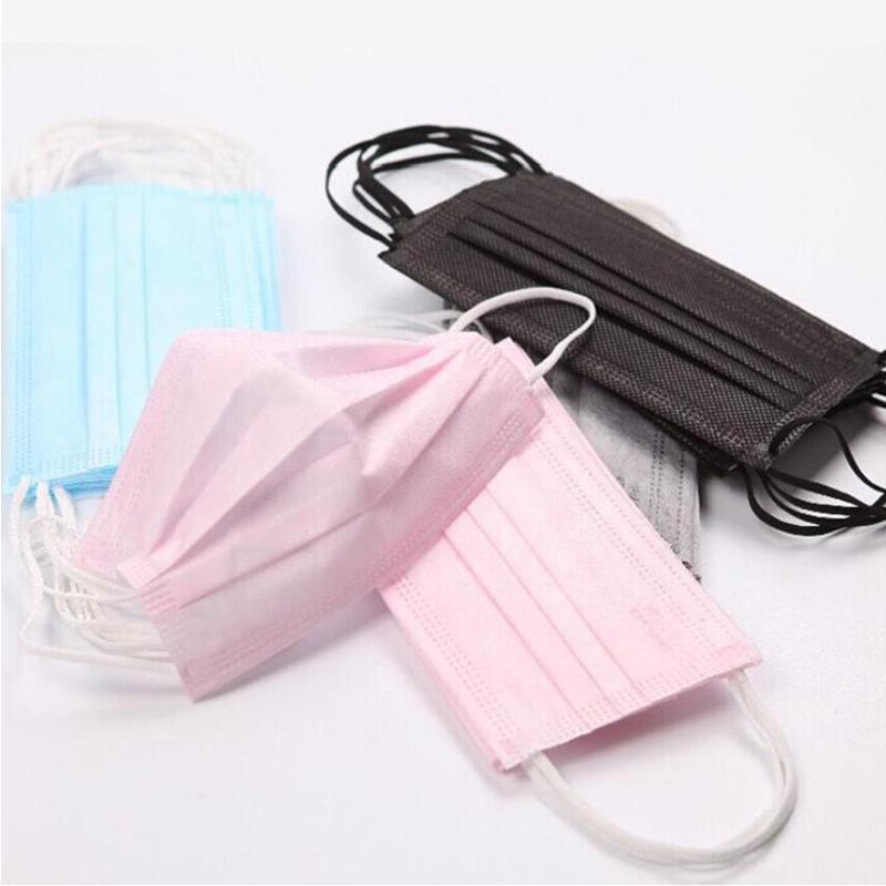 Descartáveis máscaras adultos crianças máscaras rosa máscara de 3 camadas balck Boca Poeira Máscaras tampa 3-Ply não tecido transporte livre cintas elásticas ouvido