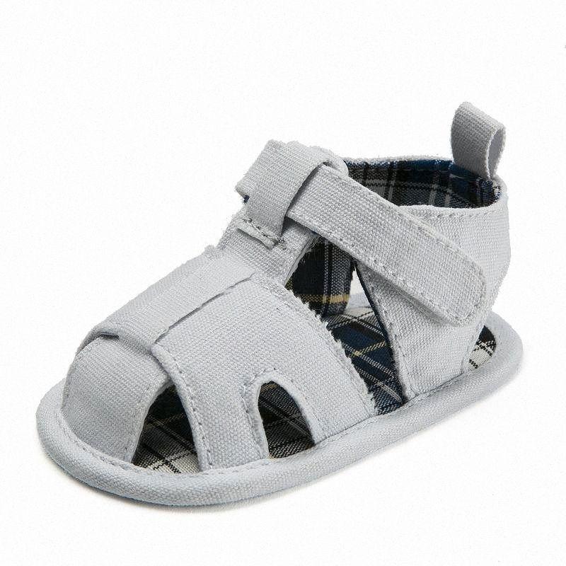 Sandalo del bambino 0 1 Year Old gomma inferiore Sandels bambino Scarpe bambino Cotone Low Top primo camminatore oWXI #