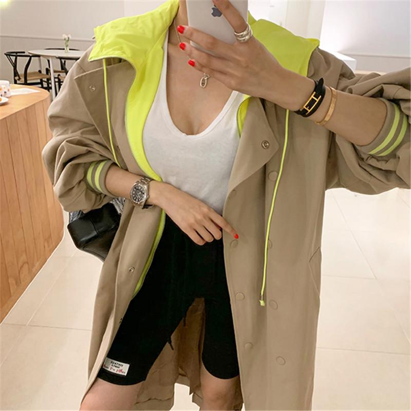 2020 New Arrival Ins Hot Korean Style Elegant Solid Simple Basic Long Wide-waisted Khaki Elegant Fashion Vintage Windbreaker