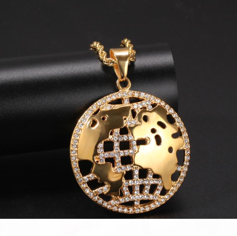 Hip H ouro banhado Diamante -Encrusted World Map personalizado Hop aço inoxidável pingentes Rua Hipster colares estão vendendo Através B