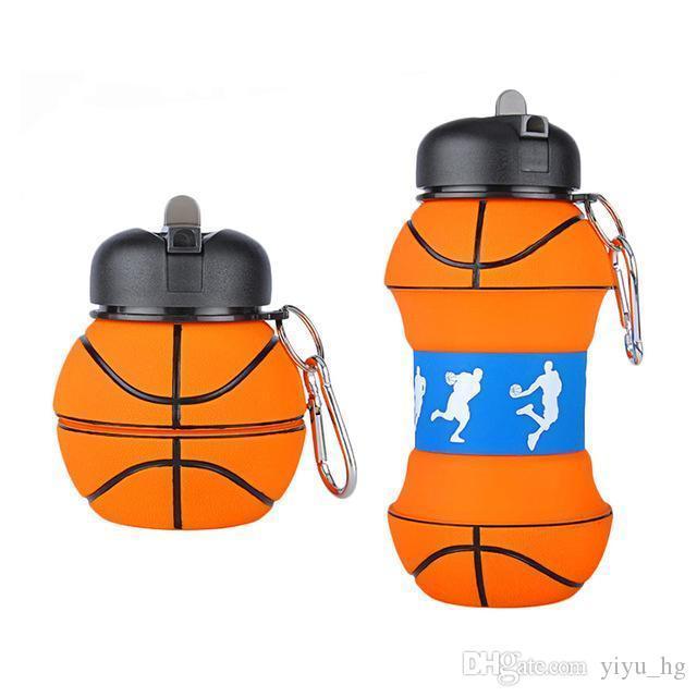 Новизна Баскетбол Водные виды спорта Бутылка соломы Экологически чистые пластиковые Герметичный Складная Питьевой Портативный Drinkware 550 ML