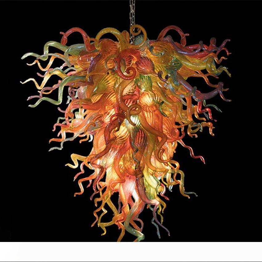 Modern Avize Kristal Işık Fikstürü Avrupa Çok Renkli Asılı Lamba Üflemeli Kristal Cam Luster Aydınlatma Ev Dekorasyonu