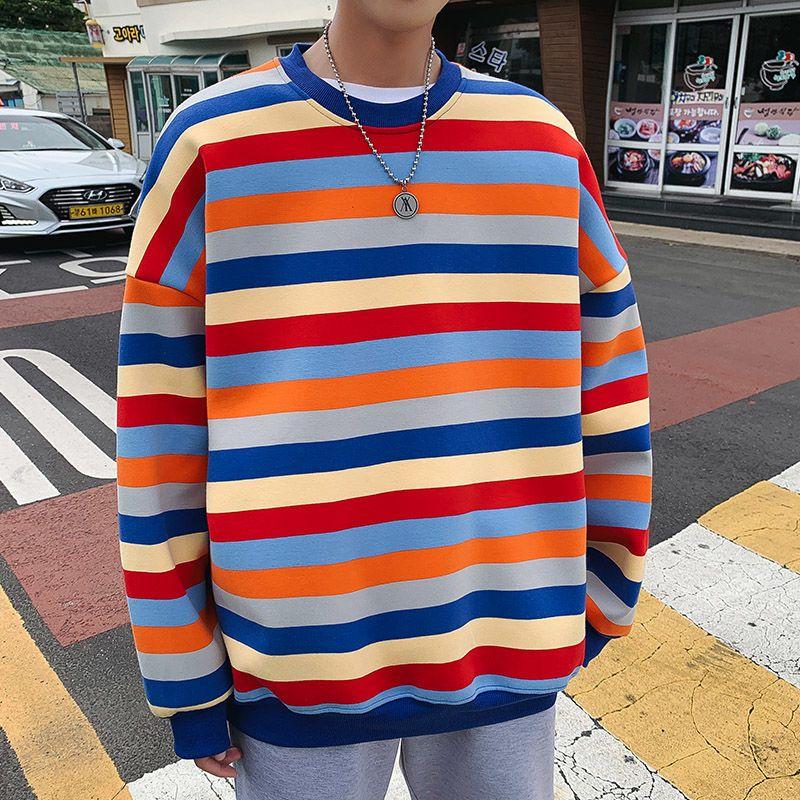 Casual Fashion Autunno colore a righe con cappuccio da uomo Felpa Uomini Streetwear selvaggio allentati di Hip Hop Pullover con cappuccio Mens Hoody S-2XL