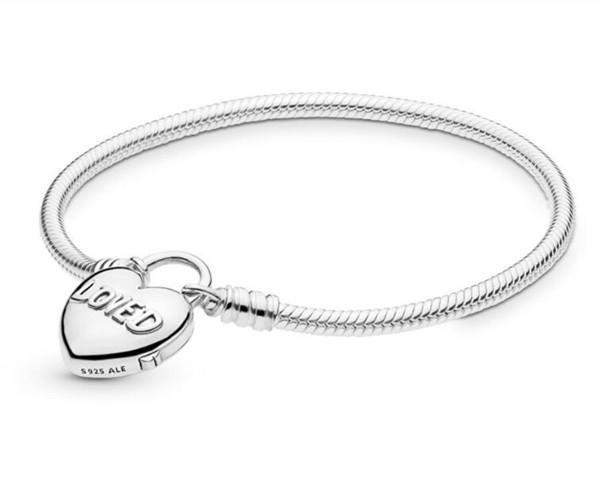 Authentische S925 Sterlingsilber-Charme-Armbänder Sie sind Herz-Geliebt Padlock Charm Armband gepasst für Pandora DIY Korn-Charme