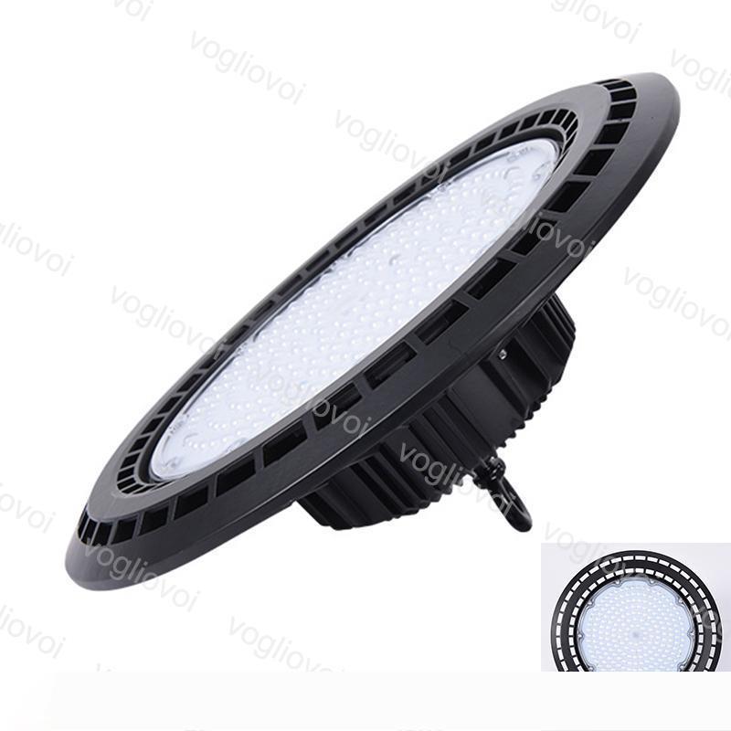 LED Yüksek Bay Işık UFO 50W 100W 150W 200W Taşkın Işık Su geçirmez alüminyum 90 ° Kapak Radyatör 6500K Sanayi Depo Sergi DHL
