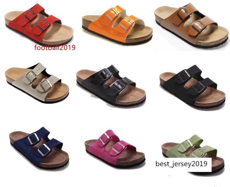 Hommes Sandales plates femmes Double boucle de style célèbre chaussures design Arizona Summer Beach Top qualité en cuir véritable chaussons avec Orignal Box