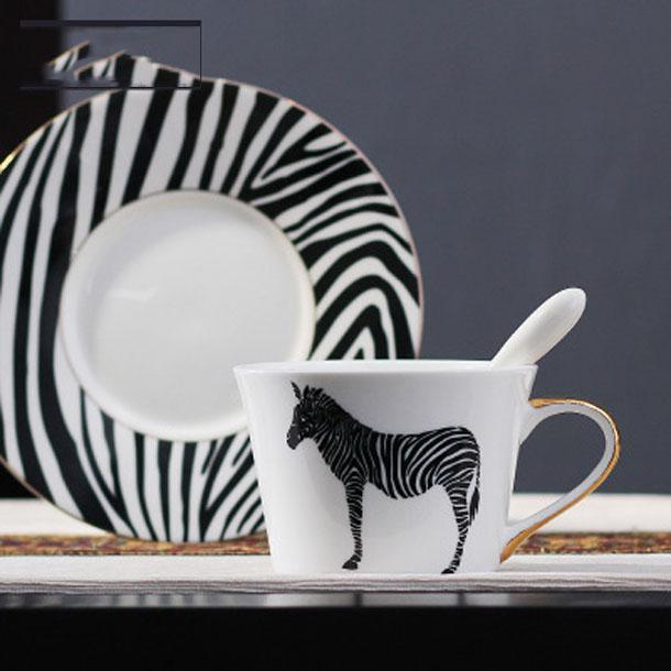 2020 new COFFE MUG European pure Ceramic coffee cup saucer set Circle bird stripe paint Phnom Penh Coffee Cupprofessional mug coffee cup