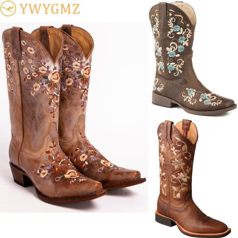 Mode Damen gestickten Blumenwesternstiefel Cowgirl Stiefel Schuhe Kniehohe Reit Leder Vintage-Reiten