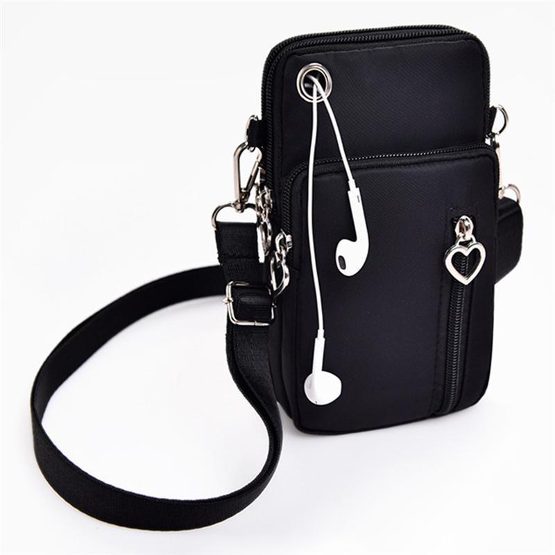 Caso chiave del sacchetto della donna degli uomini Fashion Messenger Bag 3 chiusura lampo obliqua Coin Purse Cellulare spalla esterna auricolare Pouch Sport