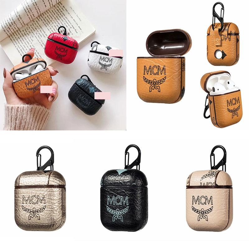 for Airpods Pro Case Designer for Apple Airpods Case MC Letter Earphone Cases with Anti Lost Hook Clasp Keychain