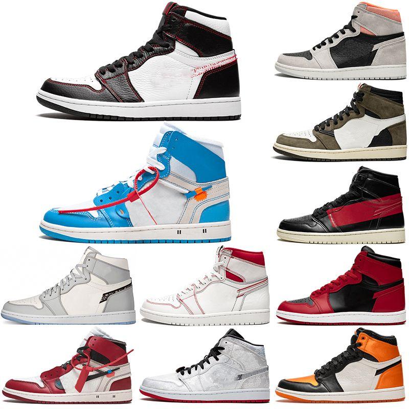 2020 nueva llegada Jumpman 1 1s zapatos de alta Travis Scotts Sin Miedo Obsidiana UNC Hombres Mujeres Baloncesto Prohibido dedo del pie Bred Chicago hombres del deporte de los zapatos