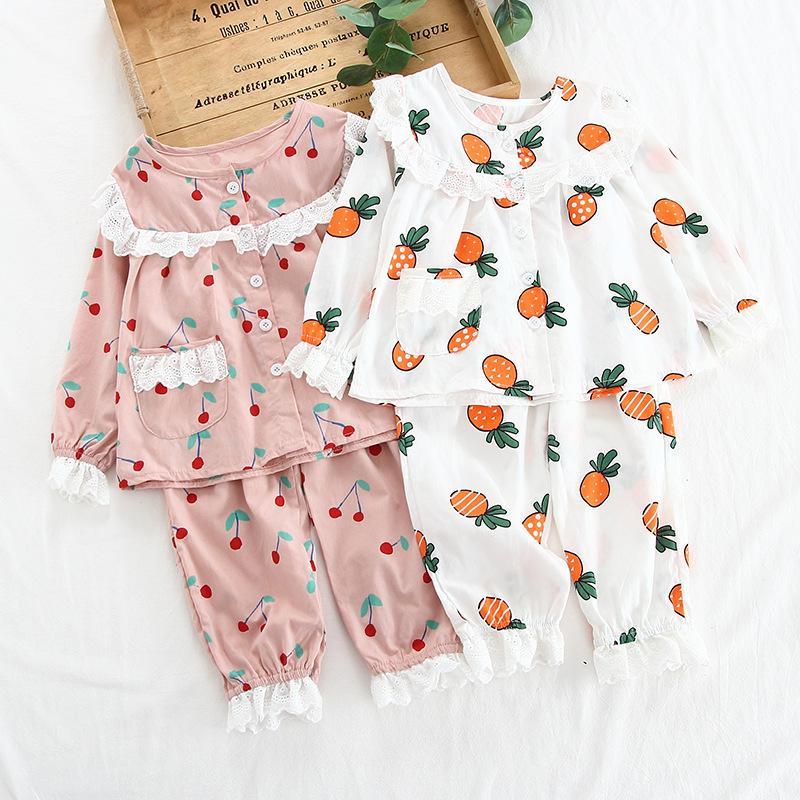 2020 Весна Autum кружева пижаме костюм Дети с длинным рукавом отворотом Кардиган Девочки Одежда Детские пижамы набор пижамы принцесса наборы CX200731