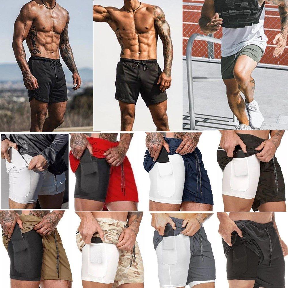 2020 Nueva Running Wear Pantalones cortos Hombres gimnasia de los deportes de compresión de teléfono de bolsillo capa debajo de la base de los pantalones cortos atléticos sólidas medias de los pantalones de cortocircuitos