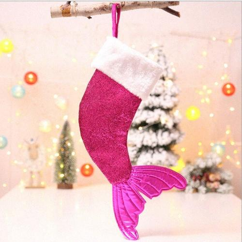 Cute Christmas Hanging Candy Gift Bag Tree Decorative Ornament Sequins Fish Tail 7BgT#