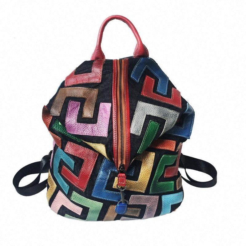 Pelle Patchwork multi colore naturale Zaino alta qualità delle donne di cuoio molle genuina casuali quotidiani zaino Adolescente sacchetto di scuola taK5 #