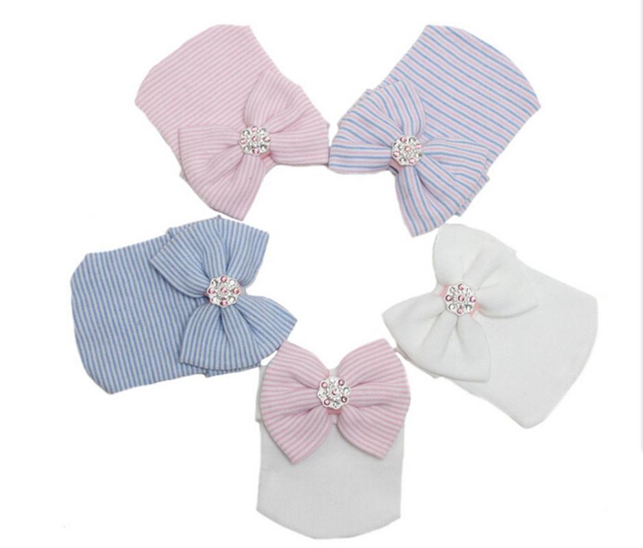 chapeaux de bébé nouveau-né Casquettes enfant en bas âge à rayures arc Bonnets doux Filles Chapeaux chaud