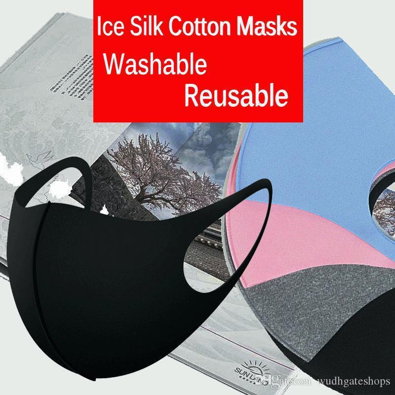 Máscaras M del algodón de seda reutilizable para adultos Niños Anti-Polvo de hielo cubierta a prueba de polvo del respirador PM2.5 anti-bacteriana Mascarilla Diseñador lavable