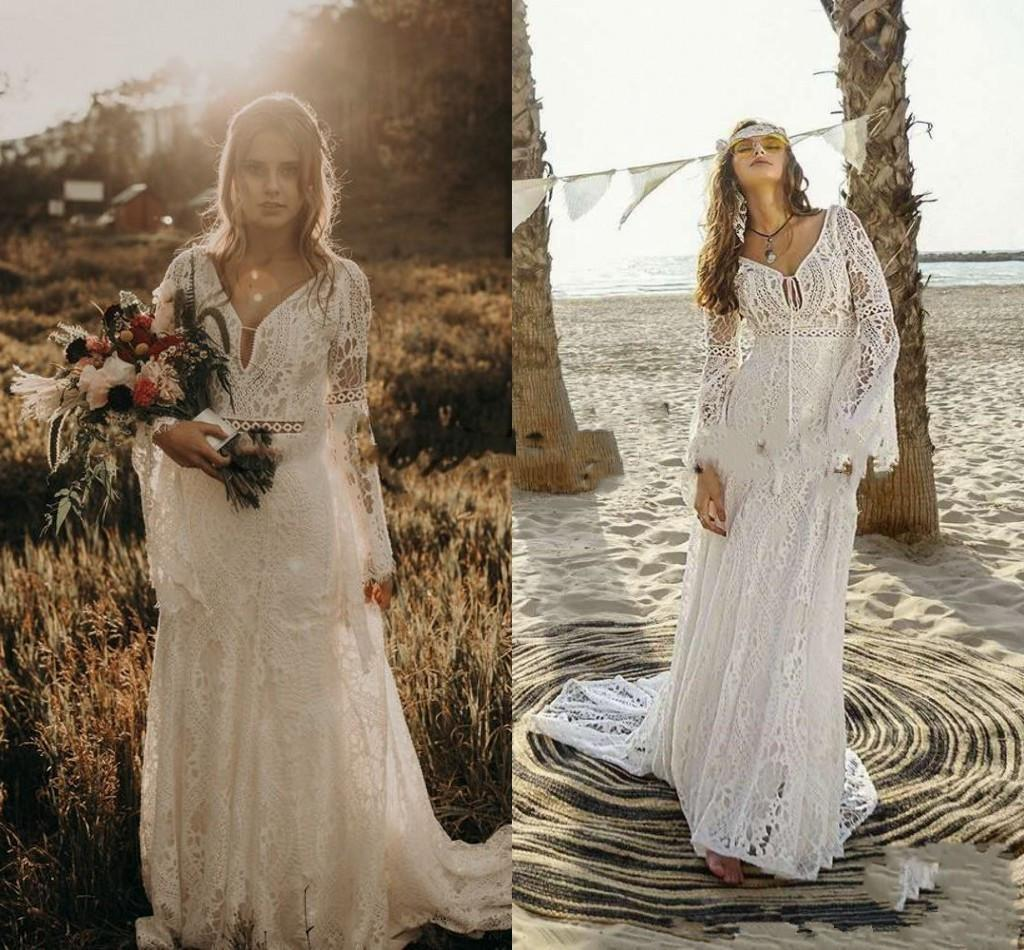 Vintage Crochet Lace Wedding Dresses with Long Sleeve 2021 V-neck Mermaid Hippie Western Country Cowgirl Bohemian Bride Gowns AL6709