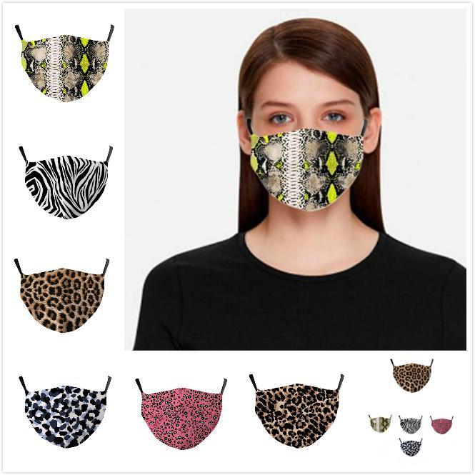 Leopardo de impresión en 3D Máscara Facial Mascarillas leopardo del polvo anti boca de mufla lavable reutilizable para adultos con filtro bolsillos de DHL