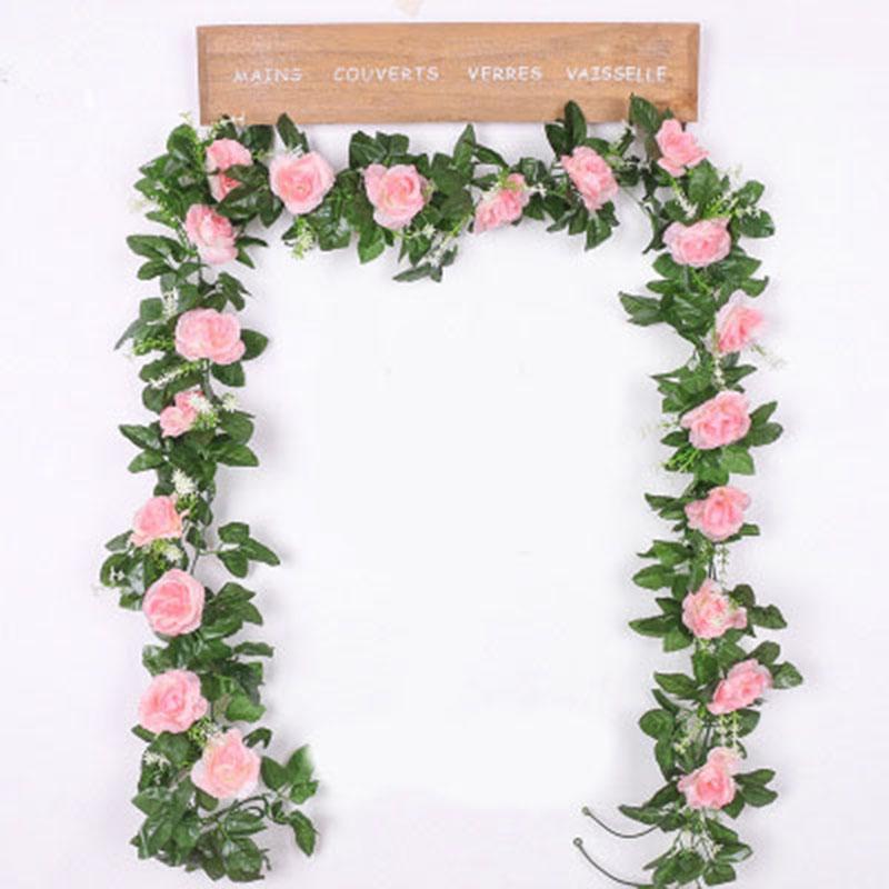 220cm Long Artificial Rose Flowers Vine Autumn Cane Backdrop Decor Silk Fake Rattan Garland For Wedding Home Hotel Decoration