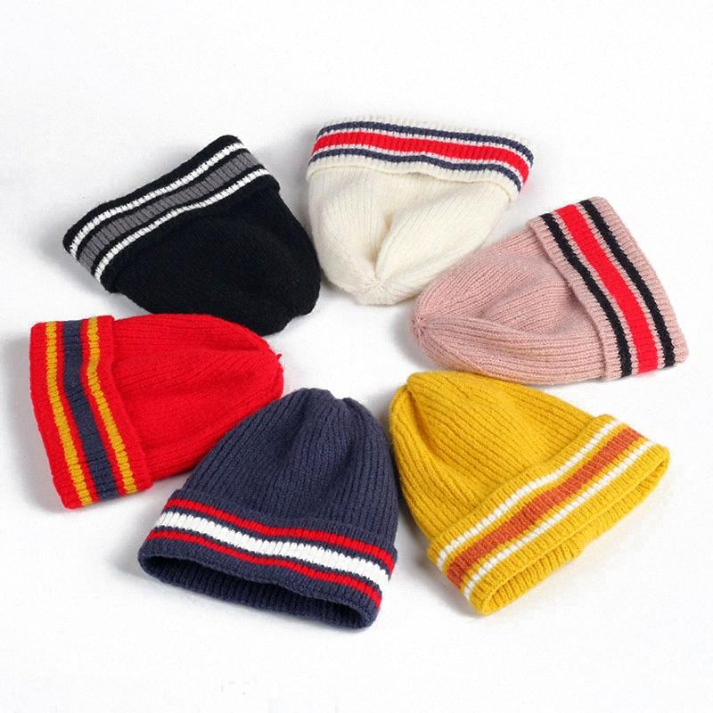 2020 2020 Autumn Winter Baby Hat For Boys Girls Colorful Striped Woolen Yarn Knitted Caps Children Pompon Kids Warm Cute Hats 0 6Y Fro Siwl#