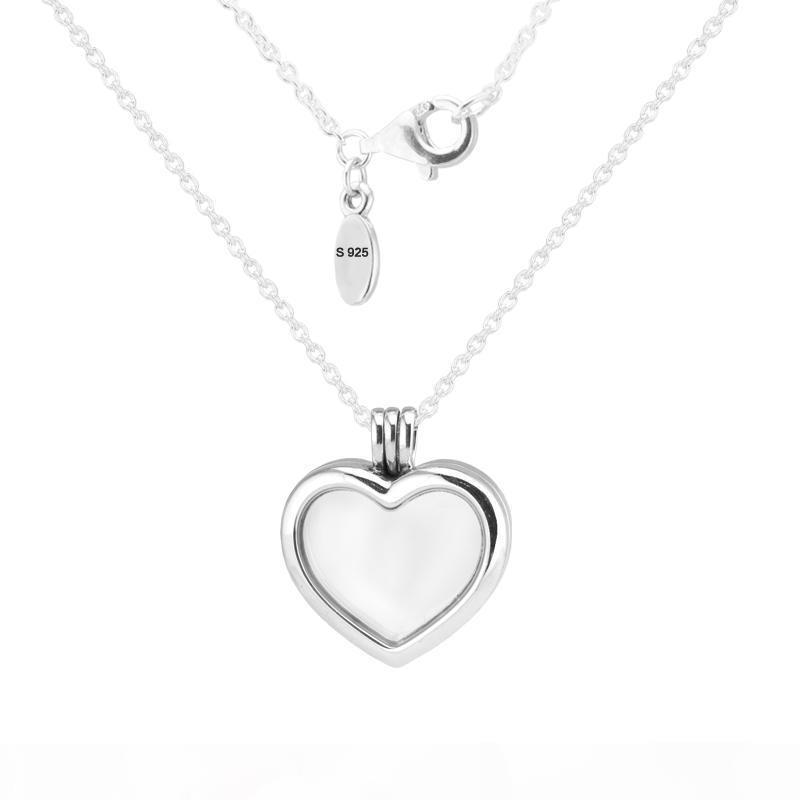 S 100 %925 Sterling -Silver -Jewelry Silver Necklaces For Women Diy Making With Petite Charms Floating Heart Locket Necklaces