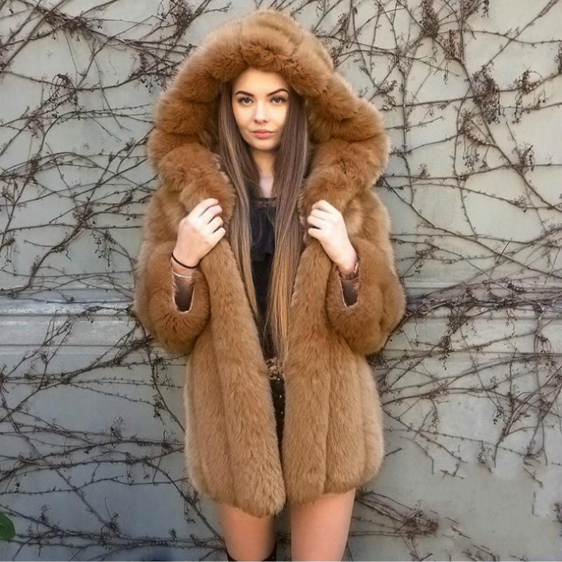 Moda Thick com capuz Revestimento do inverno Mulheres Luxo Brasão Faux Fur Além disso Size2 3 4XL Mulheres manga comprida pele do falso fourrure Jacket