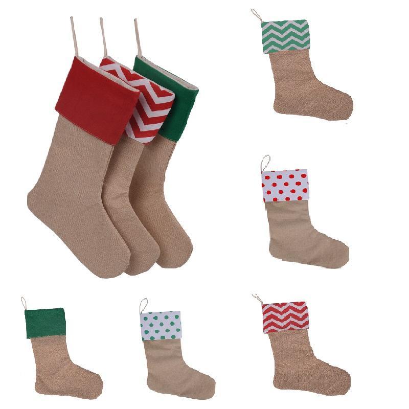 Nouveaux sacs-cadeaux de bas de Noël de bas designer toile stockage de Noël de Noël de grande taille sac de chaussettes décoratives plaine Jute