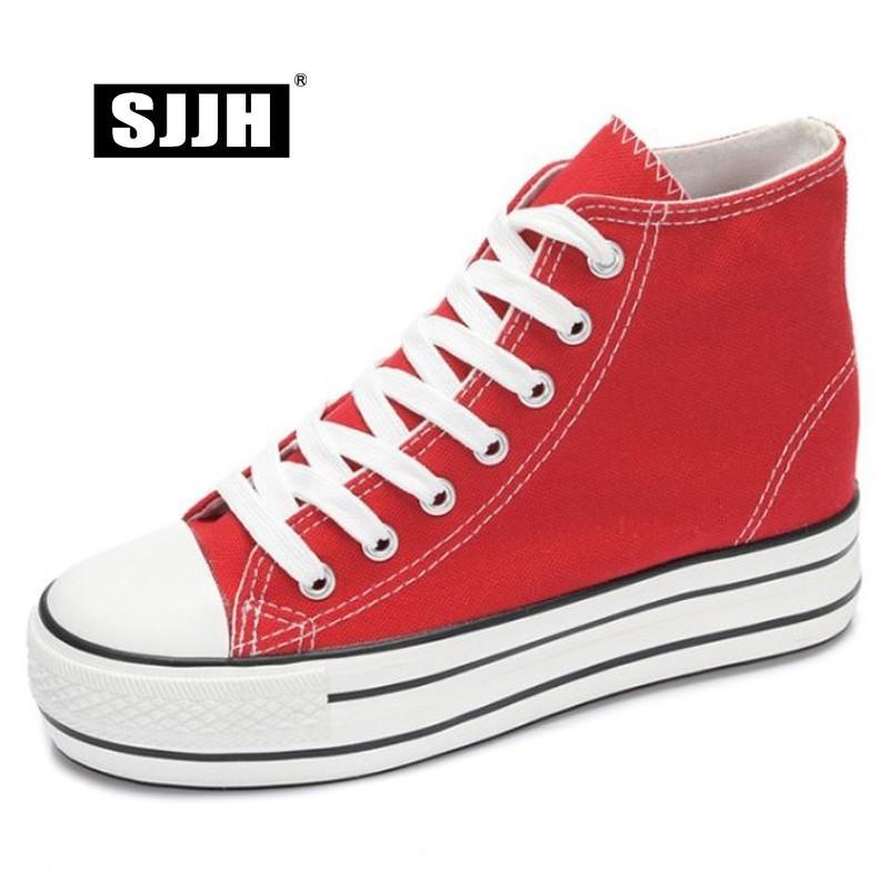 SJJH donne high-top Canvas Shoes Altezza crescente confortevole Calzature piattaforma casual Chaussure Lace-Up pattini delle signore Il D219 MX200425