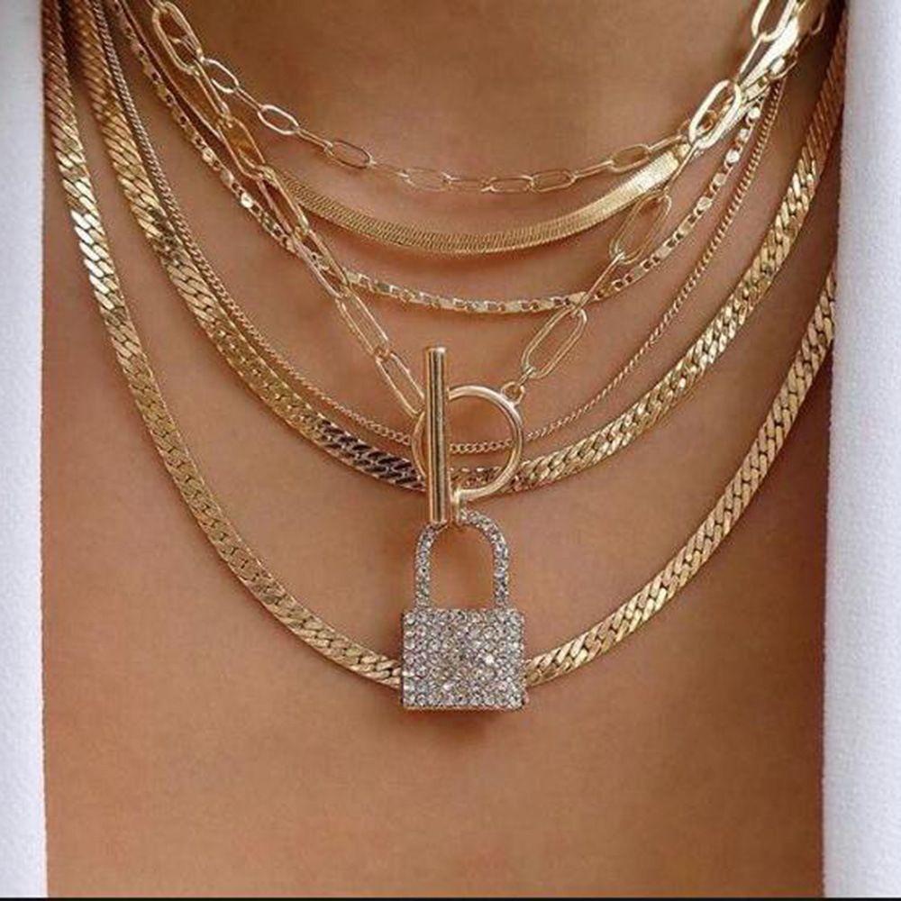 Iced Out bloqueio pingente colares de Moda de Nova Design Multi personalizado Camada Colar Gargantilha for Girls Mulheres Rhinestone Hip Hop Jewelry presente