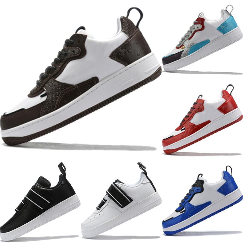 Kutusu ile 2020 AF1 Düşük Kesim Barb Deri Kaykay Ayakkabı Orjinal AF1 Barb Tampon Kauçuk Dahili Zoom Air Düşük En Popüler Spor Ayakkabıları