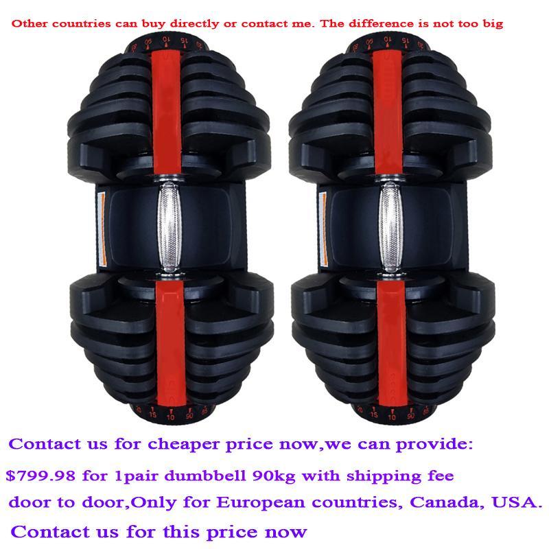90kg un par juego de mancuernas ajustables rápida de alta calidad automático de los hombres de gimnasia dumbbells traje de profesionales de fitness equipos