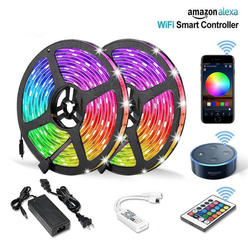 Wifi RGB Faixa de LED Luz Cordas 5M 10M 15M Fita Led Waterproof Fiexble Luz Fita 5050 Led lâmpadas com Plug Power Controlador