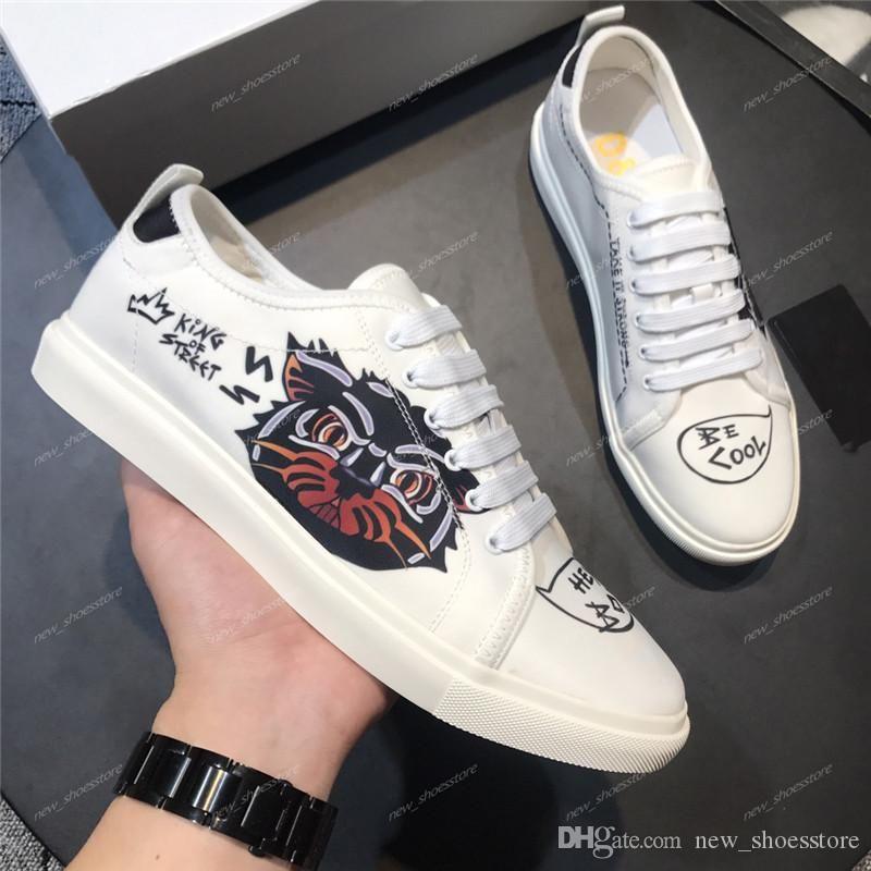 2019 Partido Plataforma Canvas Mens Designer Casual Shoes Luxo Skater Sneakers amante Graffiti Casual Shoes chaussures de qualidade superior