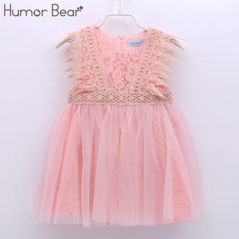 Humor Bear Girls Dresses 2020 Summer Style Baby Girl Clothes Sleeveless Lace Design for Child kids Baby Dress Boy Clothes