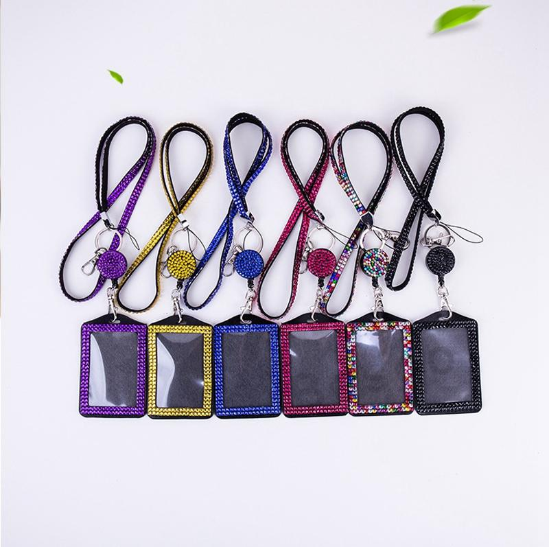 Rhinestone Bling Lanyard ID Card Holder Crystal Diamond Necklace Neck Strap With Horizontal Lined ID Badge Holder and Key Chain DBC BH2716