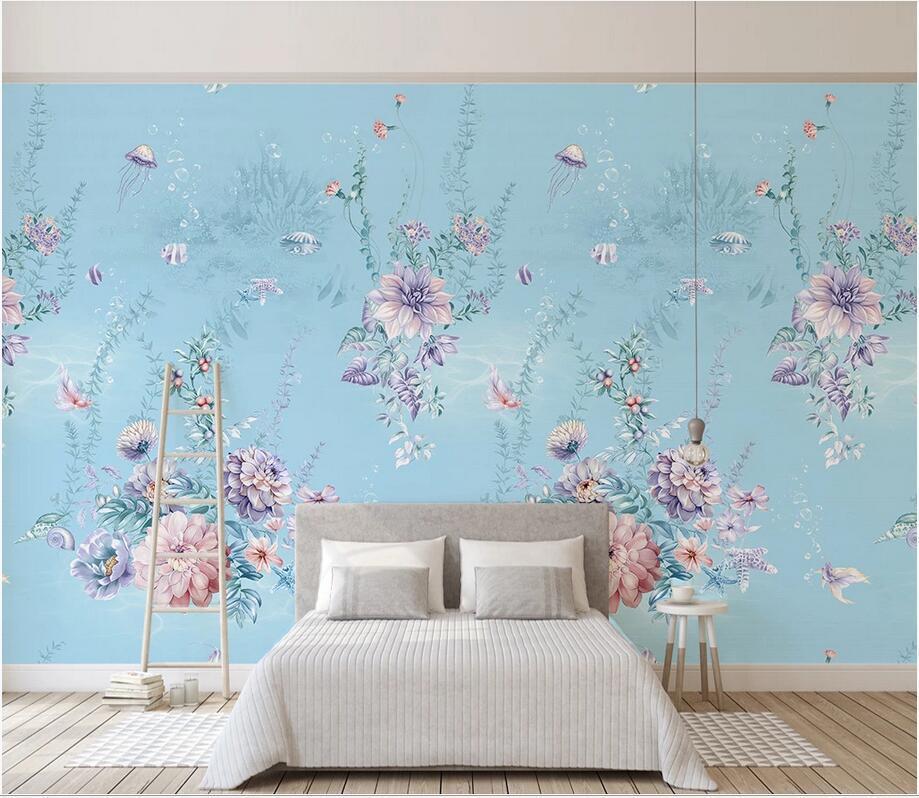 3D murais teto wallpaper foto personalizado Modern pequeno leito marinho floral fundo homedecor papel de parede rosa fresco minimalista para paredes 3 d