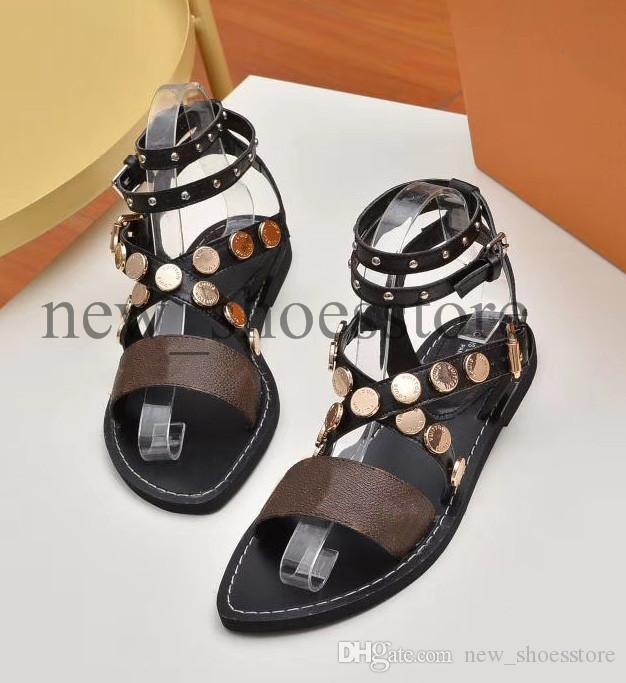 2019 Wedge Sandals das senhoras Designers Sandals design Slides Mulher chinelos de alta qualidade Gladiator sandálias de couro Mulher Chinelos Com Box