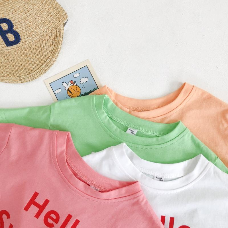 "hallo Krawatte Kinder Sommer 2020 Junge Kinder Baumwoll-T-Shirt ""Kurzarmshirt Jungs aus reiner Baumwolle T-Shirt"