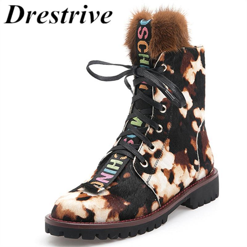 Drestrive Mulheres Botas Horsehair Low Heel Lace Up Leopard antiderrapante senhoras Outono-Inverno sapatos de plataforma 2,020 real Fur