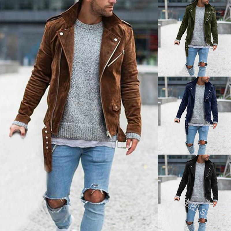 Rua roupa ocasional Mens Sólidos Zipper Punk Jaquetas Man Inverno lapela Neck Belt manga comprida Coats Man alta