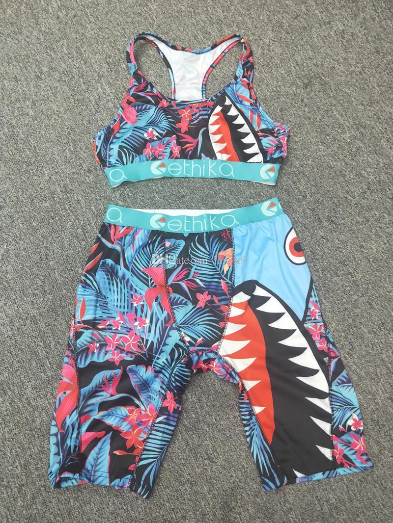 Kadınlar 2 Parça Ethika Set Ethika Kadınlar Ethika Boxers Bikini Yelek Tank Bras Mayo Tulum Köpekbalığı Yüzme Suits Bikiniler