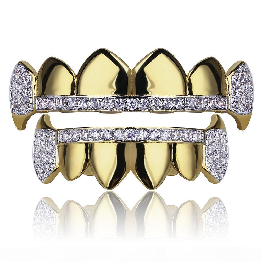 Kadınlar Erkekler Diş Grillz 18K altın kaplama dişlerin grillz Caps buzlu Out Üst Alt Vampir Fangs Diş Izgara Seti erkek Cadılar Bayramı hediye womens