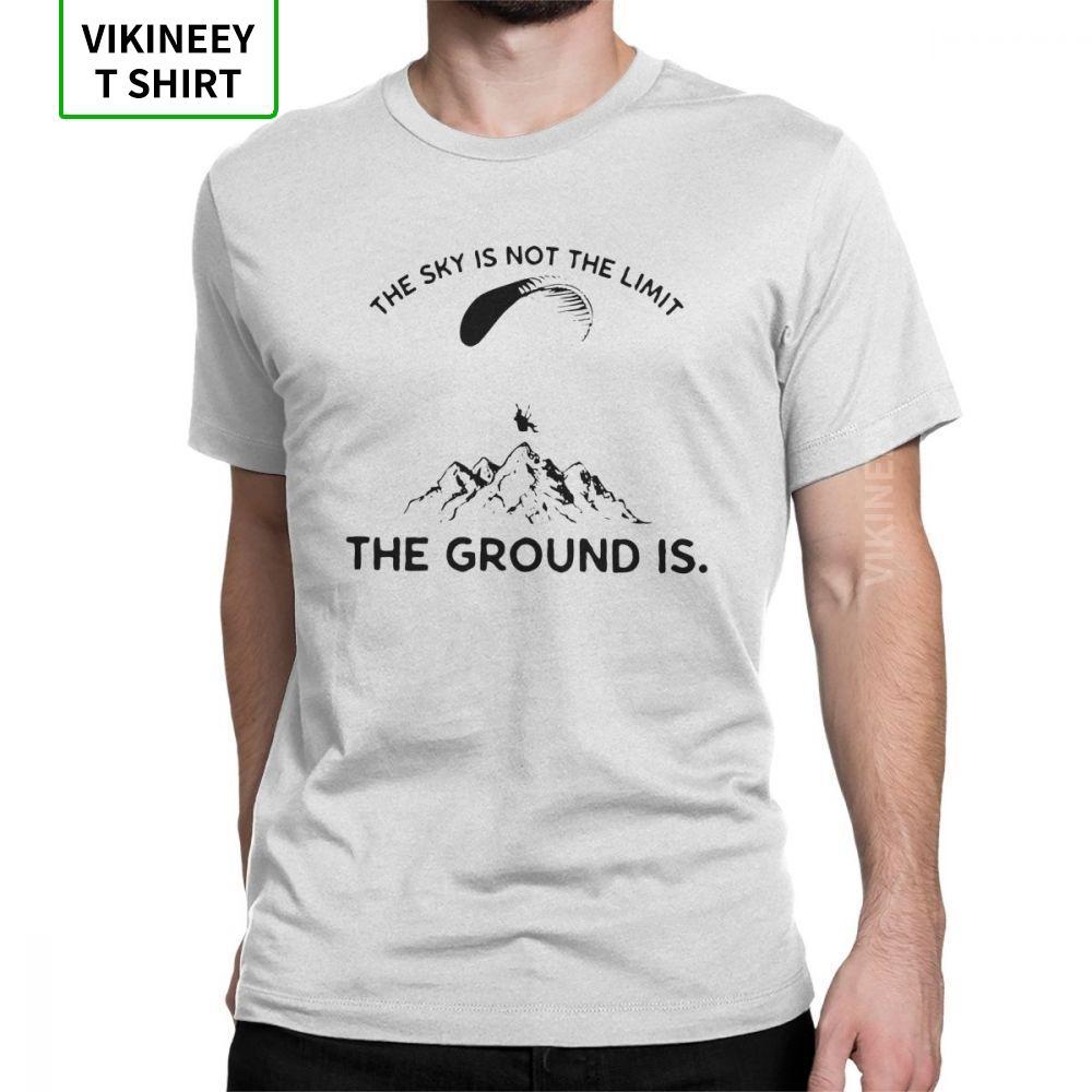 Man Paragliding T-Shirts Neuheit Rundhals Kurzarm-Kleidung aus 100% Baumwolle T-Shirt gedruckt T Shirts Männer Swag Street