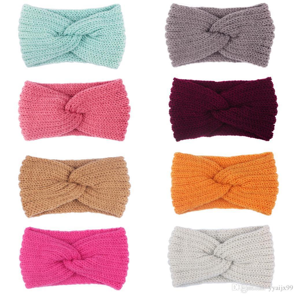Femmes Lady couleur bonbon Crochet serre-tête noeud Turban tricoté tête Wrap Hairband oreille hiver chaud bande de cheveux pour fille Accessoires cheveux