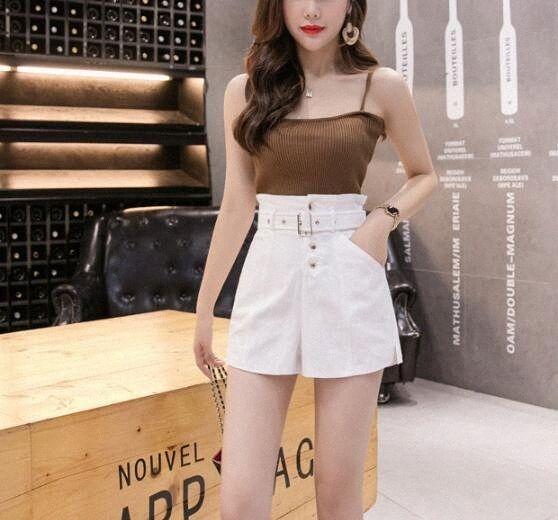 Primavera, Verão, Formal Shorts mulheres coreanas alta cintura grossa Sashes perna larga Shorts Feminino Preto Elastic punk fresco 2019 QgOq #